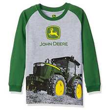 John Deere Boys Gray Heather/Green Big Tractor Long Sleeve Shirt