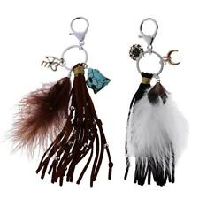 Exquisite Feather Tassels Charm Key Chain Ring Handbag Accs Lobster Clasp