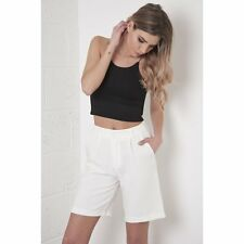 UK Fashion Ladies Women High Waisted Tailored City Shorts in White size 8