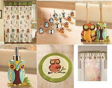 Bathroom Set Owl Collection Shower Curtain Curtain Hooks 2 Towels and/or Rug