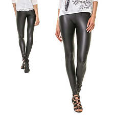 Pieces Women's Leggings Trousers Pants Skinny Fit Stretch Leather Wet Look NEW