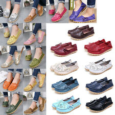 Women Leather Comfort Casual Walk Bowed Flat Shoes Loafers Moccasin Pierced Cosy