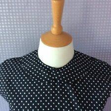 Black & white polka dot Peter Pan collar button back blouse