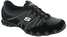 New Womens/Ladies Black Skechers Leather Upper Fashion Trainers. UK SIZES