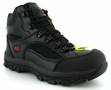 New Mens/Gents Black Tradesafe Leather Steel Toe Cap Hiker Boots. UK SIZES