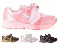 New Womens Casual Slip On Satin Bow Pumps Celebrity Fashion Trainer Shoes