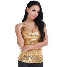 Women Spangle Sequin Sparkle Glitter Tank Top Vest Sleeveless T-Shirt Camisole