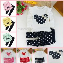 Mickey Mouse Kids Girl 2PCS Clothes Long Sleeve Top Dress Pants Trousers Outfits