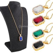 """Mens Gold Plated Iced Out Ruby Octagon Crystal Pendant Hip-Hop 24"""" Rope Chain"""