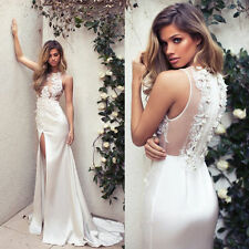 2017 Beaded Flower Wedding Dresses Sexy Slit White/Ivory Bridal Gowns Custom New