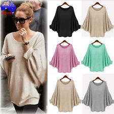Women Oversized Batwing Knitted Knit Pullover Sweater Loose Cardigan Jumper Tops