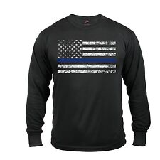 Thin Blue Line USA Flag LONG SLEEVE T-Shirt Law Enforcement Support State Police
