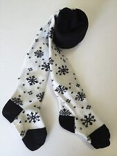 Hanna Andersson Shimmer Snowflake Tights White and Black Sparkle