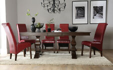 Cavendish & Boston Extending Dark Wood Dining Table & 4 6 8 Chairs Set (Red)
