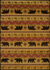Red Lodge Carpet Nature Print Elk Bears Stripes Southwestern Lodge Area Rug