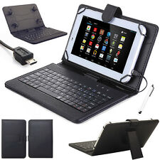 US Gift For 7'' 8'' 10'' Tablets Micro USB Keyboard W/ Leather Case Cover+Stylus