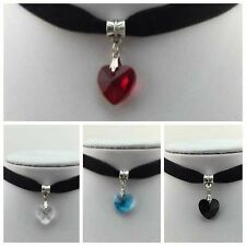 USA SHIP- Vintage Black Velvet Choker Crystal Heart Pendant Gothic Necklace Punk