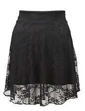 Womens Ladies Lace Floral Flared Short Mini Evening Party Skater Skirt UK 8-22