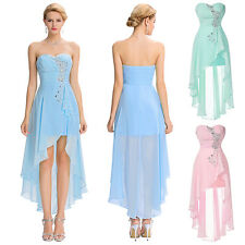 Fancy Beaded Bridesmaid Formal Evening Cocktail Prom Party Gown Short Dress Blue