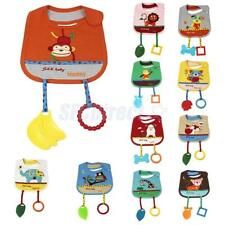 Soft Animal Cotton Toddler Infant Baby Bibs Saliva Pinafore with Teethers Toys