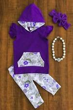 Spring Summer Girls Purple Floral Hoodie Tank and Capri Boutique Outfit SALE