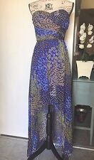 NWT MAX AND CLEO High Low Maxi Dress Blue Strapless Peacock Lined Sz 2 & 4