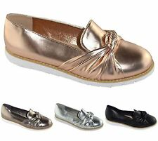 New Womens Plain Flat Slip On Bow Knot Brogues Loafers Casual Formal Shoes