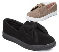 New Ladies Trainers Faux Suede Slip On Flat Bow Sneakers Pumps Shoes Size 3-8