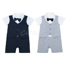 Infant Baby Boy Wedding Christening Tuxedo Formal Romper Suit Outfit Tie Clothes