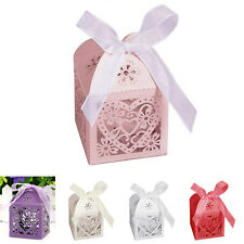 10X/50X/100X Love Heart Favor Ribbon Gift Box Candy Boxes Wedding Party Decor