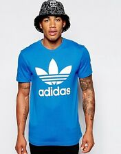 Adidas Originals Mens Trefoil Logo Crew Neck T-Shirt Short Sleeve Blue (#10427)