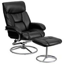 Comfort Style Elegance Contemporary Leather Recliner and Ottoman with Metal Base