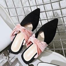 Womens Suede Sandals Chic Bowknot Pointy Toe  Shoes Mules Fashion Slippers Sz 10