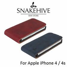 Snakehive® Apple iPhone 4/4S Vintage Nubuck Leather Flip Case Phone Cover