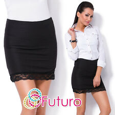 Womens Strech Waist Pencil Mini Skirt With Stripes And Lace On The Bottom FZ89