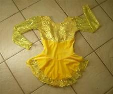 NEW YELLOW VELVET Sequin CONFETTI DOT Competition GIRLS Figure ICE SKATING Dress