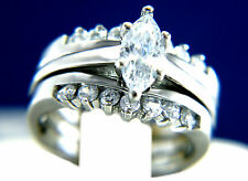 New Womens Stainless Steel Solitaire CZ Engagement Wedding Bridal Band Ring Set