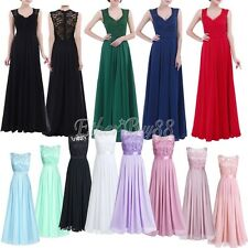 Elegant Women Embroidered Chiffon Bridesmaid Maxi Dress Long Evening Prom Gown