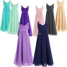 Girls Chiffon Lace Flower Dress Princess Pageant Wedding Bridesmaid Birthday New