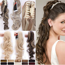 "18""-26"" Natural Thick PONYTAIL Claw Clip in Hair Extensions Blonde Brown Wavy A2"