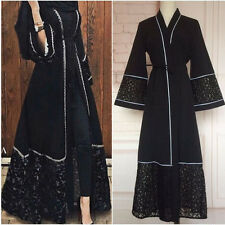 Women Dubia Style Open Front Trim Abaya Jilbab Muslim Islamic Maxi Dress Black