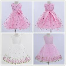 Pageant Baby Girls Party Dress Tulle Gown Formal Floral Lace Bridesmaid Dress