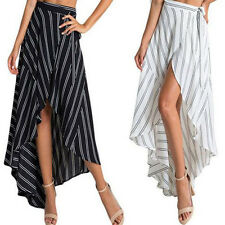 Boho Womens Chiffon Striped Irregular Long Maxi Dress Summer Beach Belted Skirt