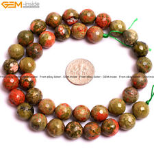 """Natural Faceted Loose Beads Gem Unakite Stone Beads For Jewelry Making 15"""""""
