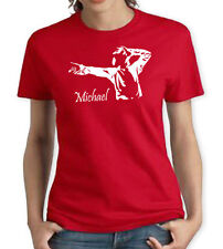 MICHAEL JACKSON KING OF POP RED WOMENS T SHIRT MUSIC 80s DANCE HAT ROCK RETRO