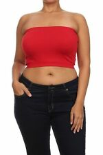 Plus One Size Bandeau Bra Top Seamless Tube Strapless 1X 2X 3X New Stretchy Red