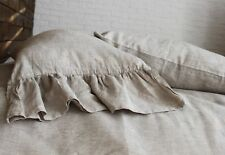 Linen pillow sham with ruffles, natural linen color, queen/ king/standard