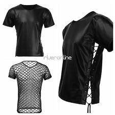 Sexy Mens Black Patent Leather Lace-up Undershirt T-Shirt Vest Tops Clubwear New