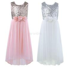 Flower Girls Chiffon Sequins Bridesmaid Wedding Birthday Party Prom Gown Dress