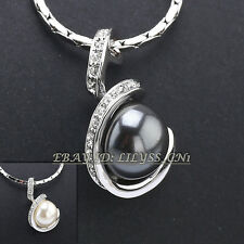 A1-P003 Fashion Pearl Pendant Necklace 18KGP CZ Rhinestone Crystal